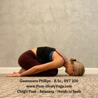 Childs Pose (Balasana) with hands to heels on Pose-itivelyYoga.com