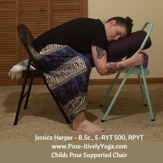 Childs Pose Supported in a Chair on Pose-itivelyYoga.com