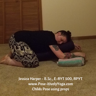 Childs Pose Using Props on Pose-itivelyYoga.com