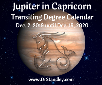 Jupiter in Capricorn - Transiting Degrees Calendar December 2, 2019 until December 19, 2020 on DrStandley.com