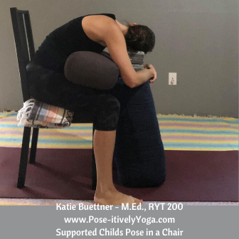 Childs Pose Using a Chair and Props on Pose-itivelyYoga.com