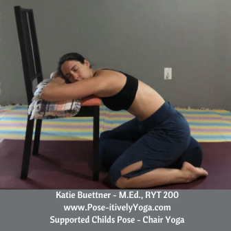 Supported child's pose in chair yoga on Pose-itivelyYoga.com