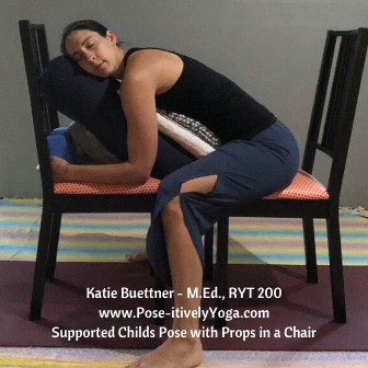 Child's Pose using props in a chair on Pose-itivelyYoga.com
