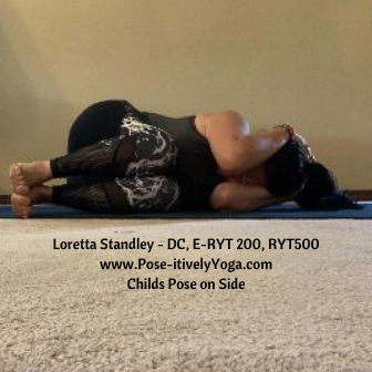 Childs Pose On Side on Pose-itivelyYoga.com