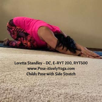 Childs Pose with Side Stretch on Pose-itivelyYoga.com