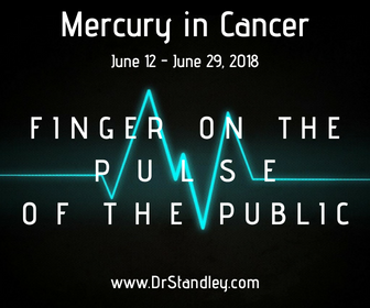 Mercury in Cancer has its finger on the 'pulse of the public' and brings about family communication.
