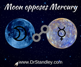 Moon opposing Mercury on Wednesday, March 20, 2019 on DrStandley.com