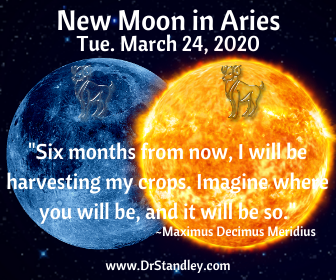 New Moon in Aries at 04 degrees 12 minutes on DrStandley.com