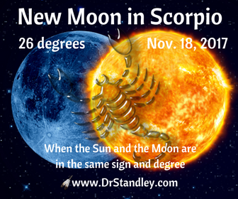 New Moon in Scorpio at 26 degrees - Saturday, November 18, 2017 at 6:42 AM EDT