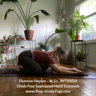 Childs Pose Supinated Hand Extension on Pose-itivelyYoga.com